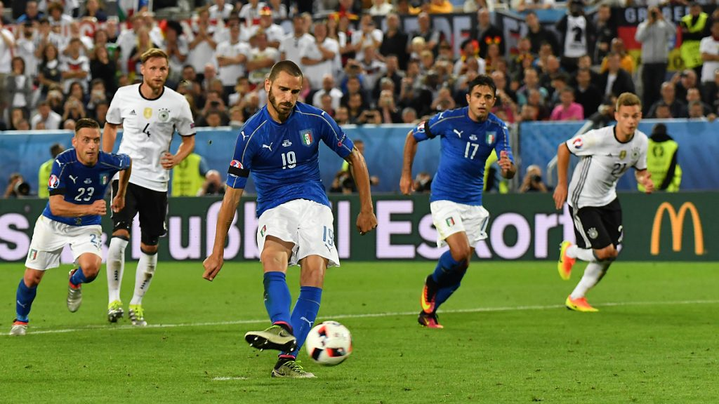A view of the action between Germany and Italy during their UEFA Euro 2016 Quarter-final match