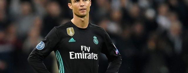 Cristiano Ronaldo of Real Madrid looks dejected following Tottenham Hotspur's second goal during the UEFA Champions League group H match between Tottenham Hotspur and Real Madrid at Wembley Stadium on November 1, 2017 in London, United Kingdom.  (Photo by Laurence Griffiths/Getty Images)